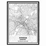Potsdam Deutschland Karte Wandkunst Leinwand drucken Poster