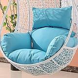 Muebles impermeables al aire libre Patio mimbre cesta colgante silla batiente lágrima huevo silla cojín (excluyendo silla) (azul)