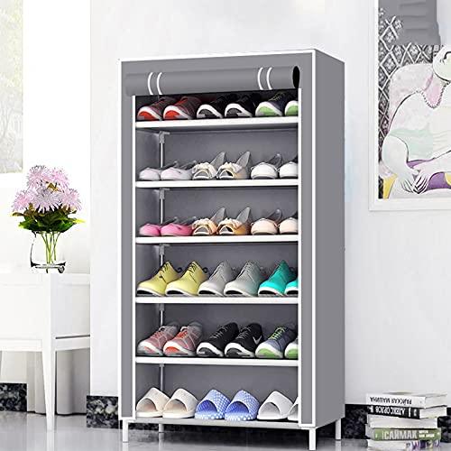 LJKD Gabinete de Almacenamiento de Zapatos de Lona con Estante para Zapatos de 7 Niveles, de pie para Sala de Estar, Pasillo, Organizador de Zapatos con Cubierta a Prueba de Polvo,A5
