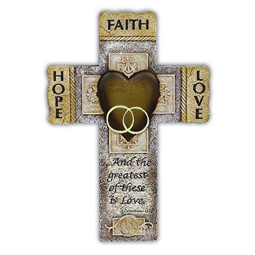 Abbey Gift Faith Hope Love Marriage Cross, 7.25 x 10.5, Silver/Gold