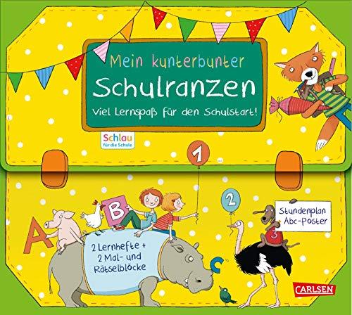 Schlau für die Schule: Mein kunterbunter Schulranzen (Buch-Set für den Schulstart): Mit 2 Lernheften, 2 Mal- und Rätselblöcken, Stundenplan und Poster für Mädchen und Jungen