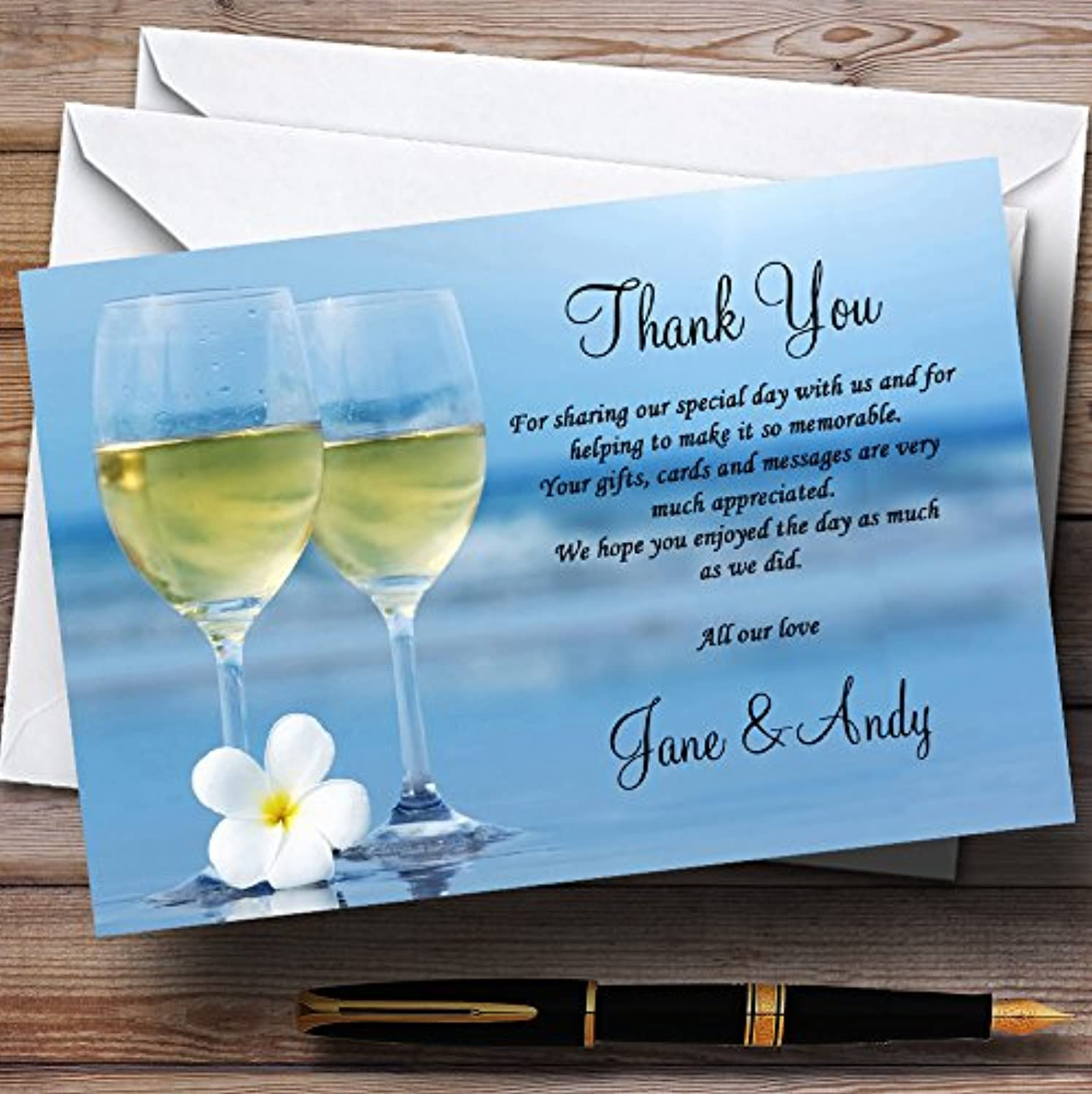 Wine On The Beach Personalised Wedding Stationery Thank You Cards