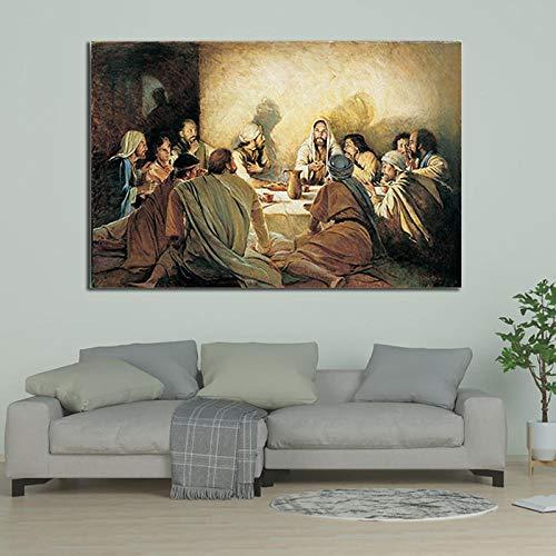 zxddzl Das letzte Abendmahl von berühmten Da Vinci Leinwand Gemälde rahmenlose Poster und Drucke Kunst Wandbilder für Wohnzimmer Dekor-70x100cm_No_Frame_OC-031