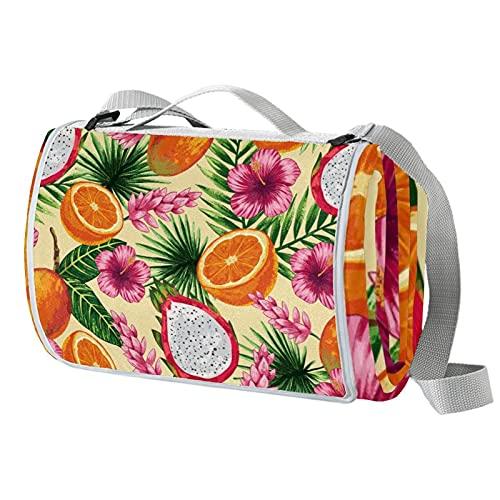 Manta de picnic portátil de 57 x 59 pulgadas, impermeable, para la playa, camping, césped, música, festival de flores tropicales, dragón, frutas y naranja