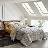Uozzi Bedding Bed in a Bag 7 Pieces Queen Size Tan Grey Tree Branch Bloom Flower - Soft Microfiber Reversible Bed Comforter Set (1 Comforter 2 Pillow Shams 1 Flat Sheet 1 Fitted Sheet 2 Pillowcases)