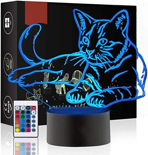 Toys Night Light Cat Lámpara de noche 3D para adultos o niños como regalo de cumpleaños o vacaciones