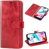 Mulbess Cover per Xiaomi Redmi 8, Custodia Pelle con Magnetica per Xiaomi Redmi 8 [Vinatge Case], Vino Rosso