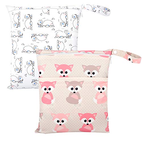 Zooawa Wet Dry Bag, 2 Pack Waterproof Reusable Portable Cloth Diapers Wet Bag With Double Zippered Pockets Carrying Storage Travel Bag Organizer for Baby Infants, Little Fox and Whale