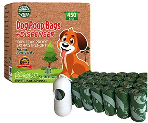 Bolsas para Excrementos Residuos Perros Mascotas, 450 Bolsas y Dispensador Extrafuerte a Prueba de Fugas Biodegradable Respetuoso con el Medio Ambiente 22 x 32 cm (450 Bolsas + Dispensador) ✅