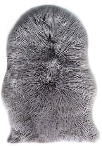 GE CHENG, Piel de Imitación, Artificial Alfombra, excelente Piel sintética de Calidad Alfombra de Lana ,Adecuado para salón Dormitorio baño sofá Silla cojín (Gris, 50 x 80 cm)