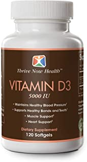 Thrive Now Health, Vitamin D3, 5000 IU, 120-Count