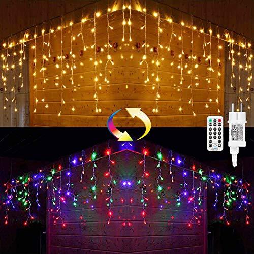 Cascata Luci da Esterno, BrizLabs 8.8M 360 LED Luci Natale Bianco Caldo Colorate Tenda Luminosa Interno Luci Stringa Decorazione Natalizie 11 Modalità Dimmerabile con Telecomando per Festa Matrimoni