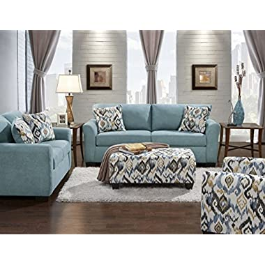 Roundhill Furniture LAF3300SC Liverpool Microfiber 2-Seater Sofa and Loveseat Set with Pillows in Sansations Capri Blue