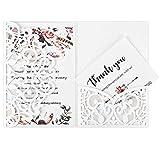 Hochzeitseinladung Hochzeit Einladungskarten Tri-Fold Hohl Business Einladungskarten , 20 Stück Hochzeitskarte Glückwunschkarte Grußkarte Einladungkarte, auch für Taufe,Geburtstag,Kommunion weiß