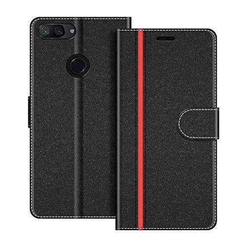 COODIO Funda Xiaomi Mi 8 Lite con Tapa, Funda Movil Xiaomi Mi 8 Lite, Funda Libro Xiaomi Mi 8 Lite Carcasa Magnético Funda para Xiaomi Mi 8 Lite, Negro/Rojo