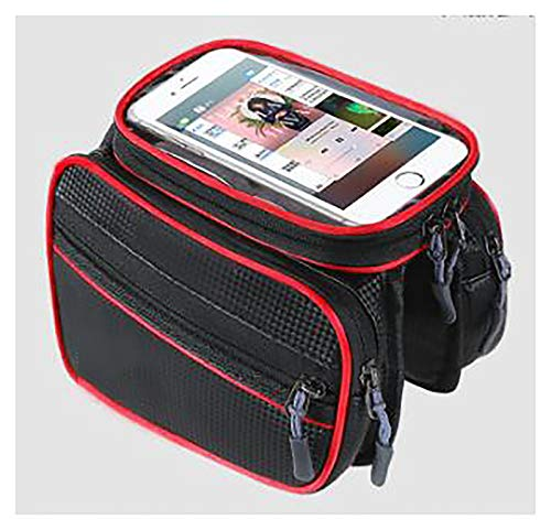 LJWLZFVT Bike Frame Bag Gifts for Him Bicycle bag Waterproof Phone Holder Bike Bags for Frame Top Tube Bicycle Pouch Bag with Touchscreen rain cover suitable Bike bag Pu red and black 195x10x15cm