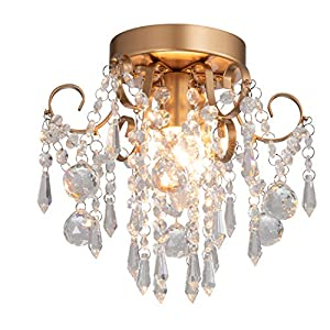 Q&S Mini Chandelier Crystal Ceiling Light ,Small Flush Mount Chandelier,Entryway Bedroom Barthroom Hallway Gold Light Fixture