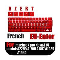 フランス語バージョンのラップトップキーボード保護フィルムfor Macbook touchbar13 15インチ防水EU AZERTキーボードカバーシリコーンケース-Red-