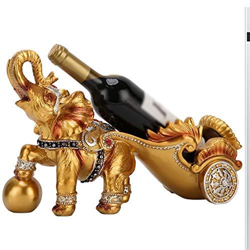 MCBODOG Magia de Alambre de Metal de Vino único Titular de la Botella Elegante, Dibujado a Caballo de Oro de Resina Artesanal Regalo Europea Elefante Cesta Estante del Vino Decoración