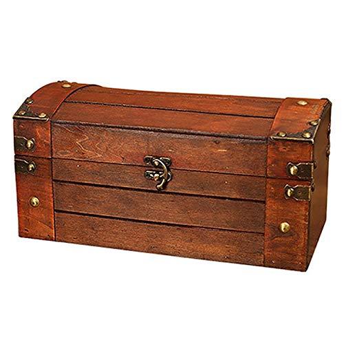 ECSWP New-Retro Tesoro con la Serratura d'Epoca in Legno Jewelry Box di stoccaggio Stile Antico Organizzatore for Armadio Jewelry Box Trinket B