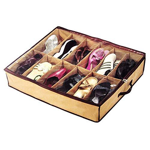 HuaYang - Zapatero para 12 pares de zapatos, para debajo de la cama, tela
