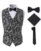 Mens Honorable Suit Vests with Tuxedo Necktie Handkerchief Bowtie Set,Silvery,XL