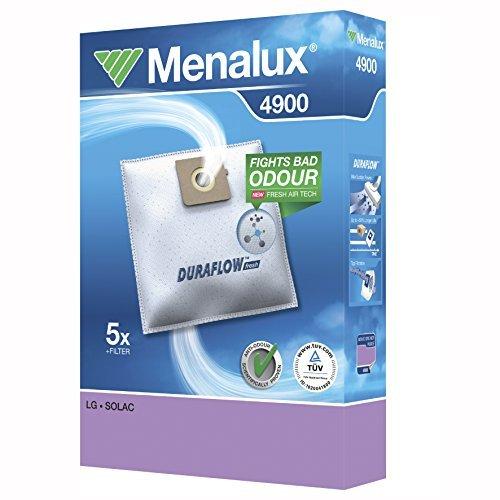 Menalux 4900 - Pack de 5 bolsas sintéticas y 1 filtro para aspiradoras LG