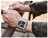 Reloj analógico de cuarzo azul para hombre, con tres zonas horarias, correa de acero, reloj de cuarzo dorado, resistente al agua, 30 m, 123, Plateado negro., Size