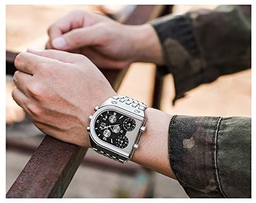 Relojes Reloj analógico de Cuarzo para Hombre Calendario de Tres Tiempos Banda de Acero Reloj de Pulsera Deportivo de Cuarzo Relojes de Oro/Plata/Negros a Prueba de Agua-Blacksilver