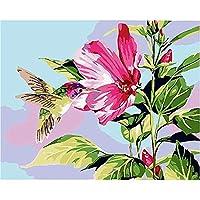 DIY数字油絵 塗り絵キット パズル油絵 ピンクの花の鳥 数字キットによる絵画 子ども塗り絵 手塗り デジタル油絵 ホームデコレーション 40x50cm(額縁なし)