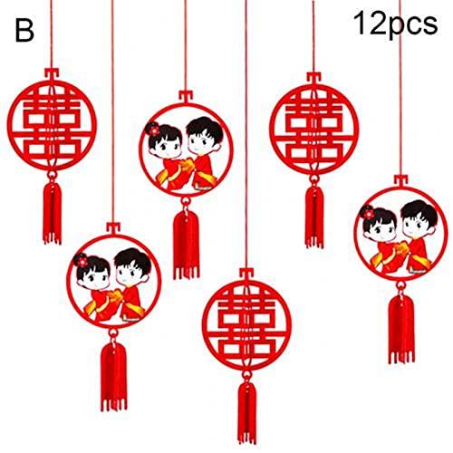 Estilo destacado Fiesta festiva Decoración de la boda 12 unids chino xi letra 3d hueco de tela colgante colgante colgante adornos de boda colgante colgante regalos boda fiesta decoración Estilo chino