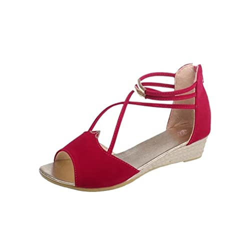 8c39b9b14d593 Red Wedge Sandals: Amazon.co.uk
