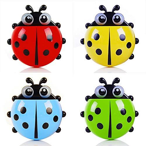 OlBu Lindo Dibujos Animados Ladybug Sucker Titular De Cepillo De Dientes Conjunto De Baño De Plástico Bolsillo Organizador