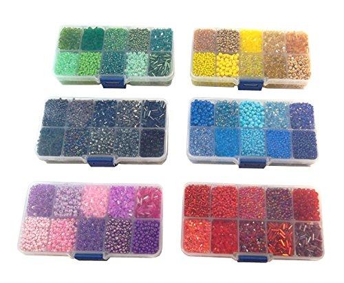 6 Box ROCAILLES BASTELSET GLASPERLEN Set ROCCAILLES PERLEN STIFTPERLEN RUND 1200g 2 3 4 6 mm POSTEN Q66