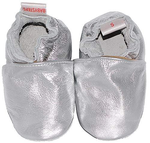 BabySteps Platte Zilveren Baby Schoenen, X-Large, Zilver