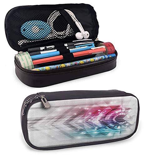 MHKG Estuche de cuero Modern Decor Big Capacity Pencil Pouch Technologic Futuristic...