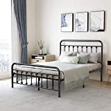 Metal Bed Frame Full Size with Headboard and Footboard Platform Base Wrought Iron Bed Frame, Sturdy Steel Slat Support,No Box Spring Needed,Black/Silver
