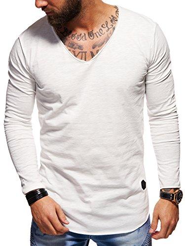 behype. Herren Langarm Basic Longsleeve V-Neck T-Shirt 30-3741 Weiß S