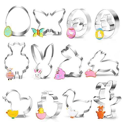 Plätzchen Ausstecher Ostern, 12 Stück Ausstechformen Ostern, Keksausstecher Oster, Osterplätzchen Backen, Hase, Schmetterling, Ei