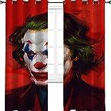 Joker Art Arthur Fleck Movie Comic Art Funny Oil Painting Sense Art Room Darkening Insulated Print Curtains, Child Nursery Room Window Decor for Dining/Bedroom 42' W x 54' L