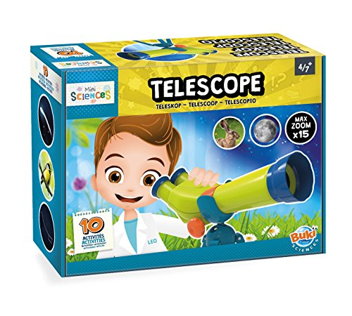 Buki Mini Sciences Children's First Basic Toy Binocular Telescope Kit 15 X Zoom for Kids Age 4 to 8