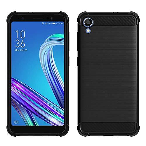 ShopInSmart® Cover morbida in silicone TPU e carbonio spazzolato per Asus ZenFone Live (L1) ZA550KL 5.5'/ ASUS_X00RD (non adatta per Zenfone Live ZB501KL 5.0'), colore: nero
