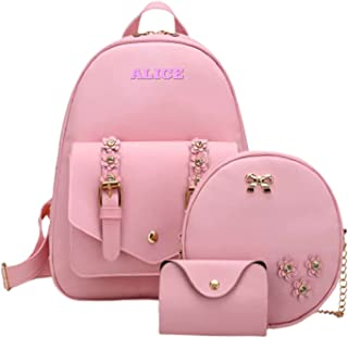 Alice Girls 3-PCS Fashion Cute Mini Leather Backpack sling & pouch set for Women (baby pink)Rakhi gift for Sister