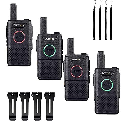Retevis RT618 Mini Walkie Talkie Sin Licencia, Doble PTT PMR446 Radio USB Recargable para Familia, Transceptor Portátil de Mano de Largo Alcance para Acampar, Picnic(Negro 4 Piezas)