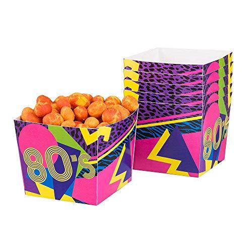 Boland 44609 - Popcornschüssel 80´s, 6 Stück, Fassungsvermögen 40 cl, umweltfreundlich, Popcornbehälter, Süßigkeitenbox, Schale, Schüssel, Tüten, Einwegbehälter, Motto Party, Kindergeburtstag