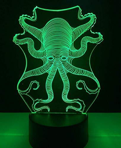 Lámpara de ilusión 3D Luz de noche LED Animal Pulpo Sepia Touch USB Mundo submarino Peces Juguetes para niños 7 colores Cambiar cumpleaños para niños Regalos de vacaciones