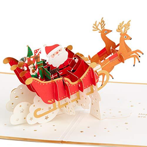 Hallmark Signature Paper Wonder Pop Up Christmas Card (Santa's Sleigh), 1299XXH3321
