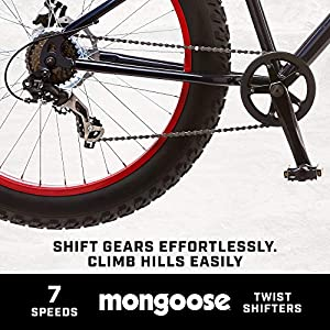 Mongoose Dolomite Fat Tire Mens Mountain Bike,17-Inch/Medium High-Tensile Steel Frame, 7-Speed, 26-inch Wheels, Navy Blue