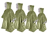 4 ponchos de emergencia de 99,8 x 125,0 cm, manta térmica de Mylar espacial, ponchos de lluvia, equipo de supervivencia y equipo para actividades al aire libre, camping, senderismo (4 unidades verdes)