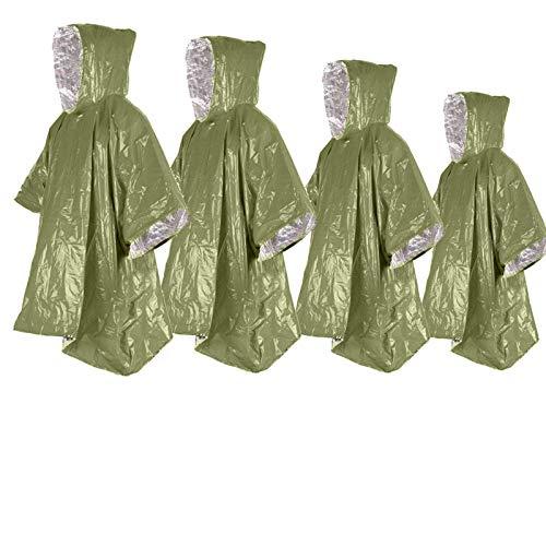 4 ponchos de emergencia de 99,8 x 125,0 cm, manta térmica d